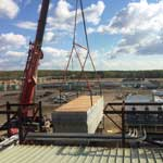 Lifting very large heat exchanger with crane top view