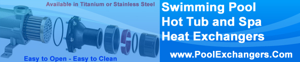 Titanium or Stainless Steel hot tub, spa, swimming pool heat exchangers that are easy to open, easy to clean, easy to install and service. Large selection of commercial Swimming Pool, hot tub or Spa heat exchangers.